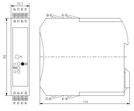 MV 3025 Fajlagos vezetőképesség Transmitter 4 cellás elektródához, PLC-hez