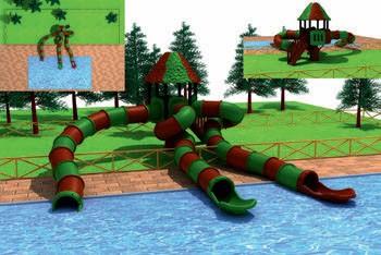 MODUL TOBOGAN 0006 Csúszdás vizes játszótér