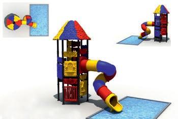 MODUL TOBOGAN 0016 Csúszdás vizes játszótér