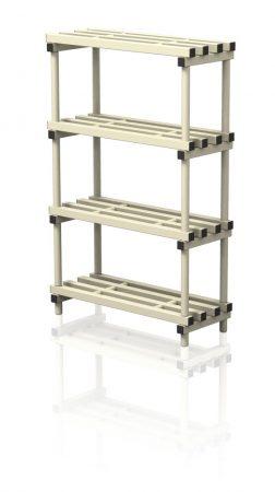Stabil, görgők nélküli POLC, 150 cm x 40 cm x 5 szint