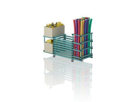 TEO V3-2 - Gurulós kombinált tároló (vízszintes rácsozás; tető nélkül, 2 nyitott polcrész)