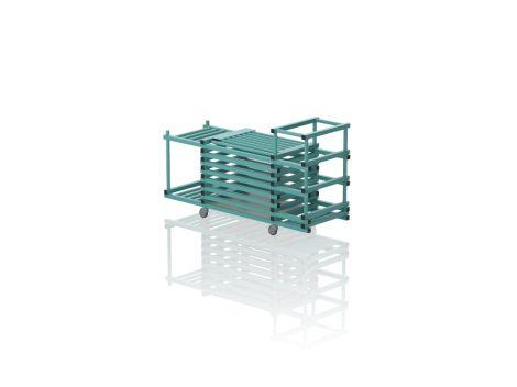 TEO TOP V3-2 - Gurulós kombinált tároló (vízszintes rácsozás; tetővel, 2 nyitott polcrésszel)