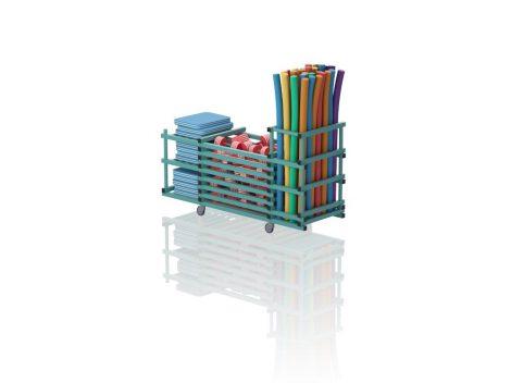 TEO V3-3 - Gurulós kombinált tároló (vízszintes rácsozás; tető nélkül, 3 nyitott polcrésszel)