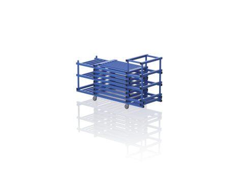 TEO TOP V3-3 - Gurulós kombinált tároló (vízszintes rácsozás; tetővel, 3 nyitott polcrésszel)